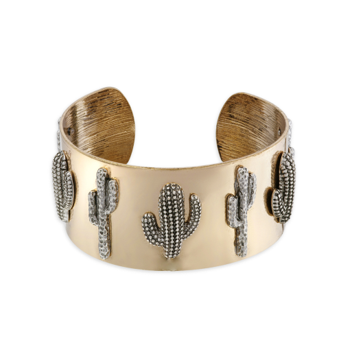 Accessoire : Bracelet manchette avec cactus argenté